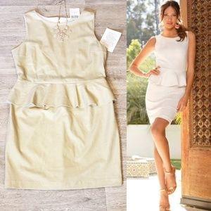 NWT BOSTON PROPER Gold Shimmer Peplum Dress